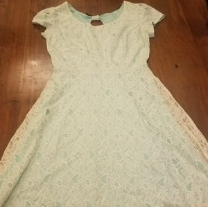 Maurice's aqua and cream lace dress